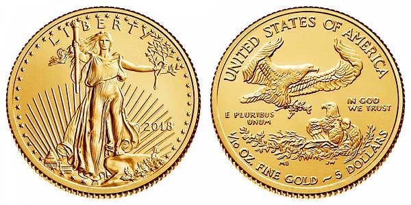 2018 Tenth Ounce American Gold Eagle - 1/10 oz Gold $5