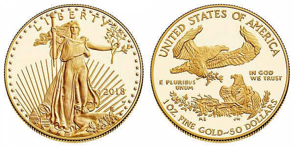 2018 W Proof One Ounce American Gold Eagle - 1 oz Gold $50