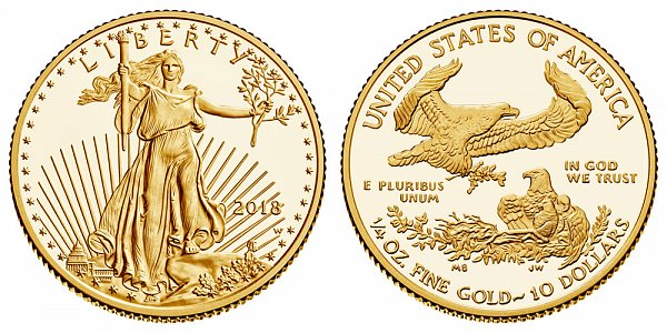 2018 W Proof Quarter Ounce American Gold Eagle - 1/4 oz Gold $10