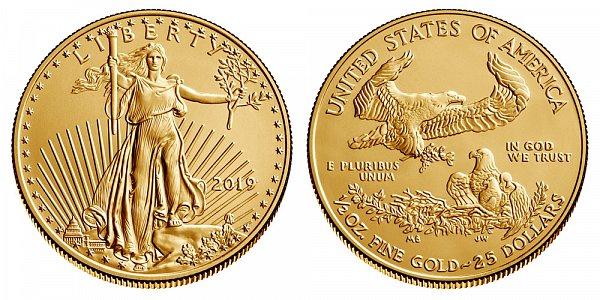 2019 Half Ounce American Gold Eagle Bullion - 1/2 oz Gold $25