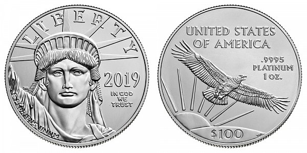 2019 American Platinum Eagle - Brilliant Uncirculated $100 1oz One Ounce Platinum Bullion