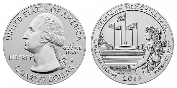 2019 P American Memorial Park 5 Ounce Burnished Uncirculated Coin - 5 oz Silver