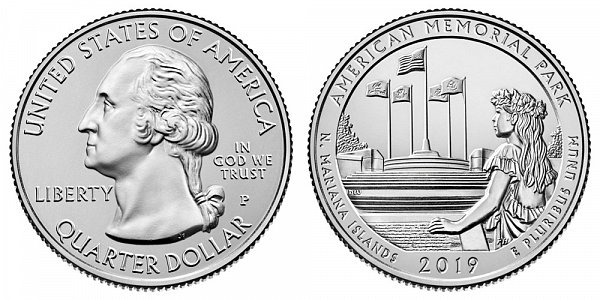 2019 P American Memorial Park Quarter - Northern Mariana Islands