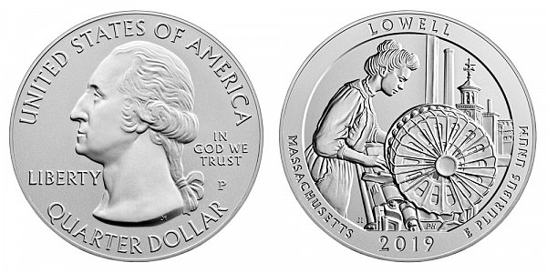 2019 P Lowell 5 Ounce Burnished Uncirculated Coin - 5 oz Silver