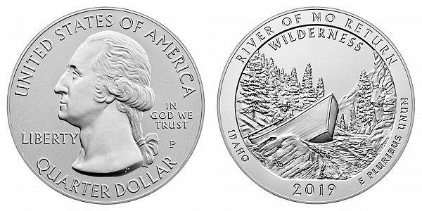 2019 P River Of No Return 5 Ounce Burnished Uncirculated Coin - 5 oz Silver