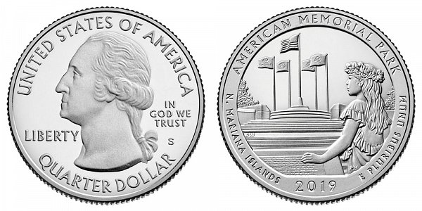 2019 S Silver Proof American Memorial Park Quarter - Northern Mariana Islands