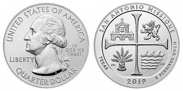 2019 San Antonio Missions 5 Ounce Bullion Coin - 5 oz Silver
