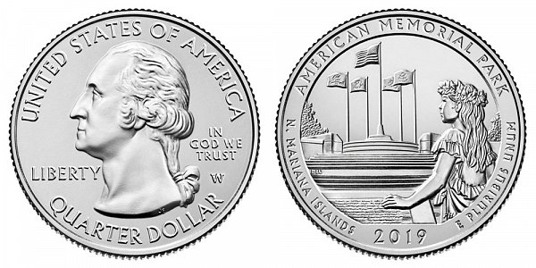 2019 W American Memorial Park Quarter - Northern Mariana Islands