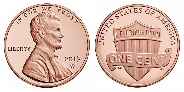 2019 W Proof Lincoln Shield Cent Penny - West Point