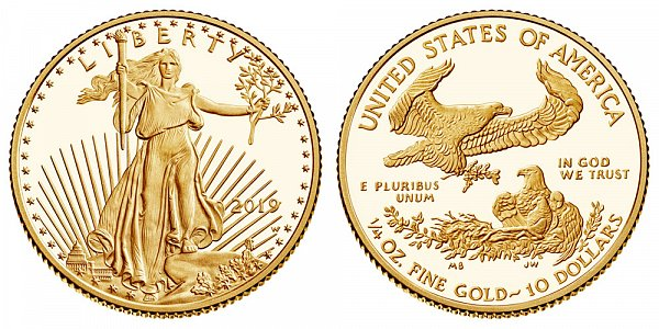 2019 W Proof Quarter Ounce American Gold Eagle - 1/4 oz Gold $10