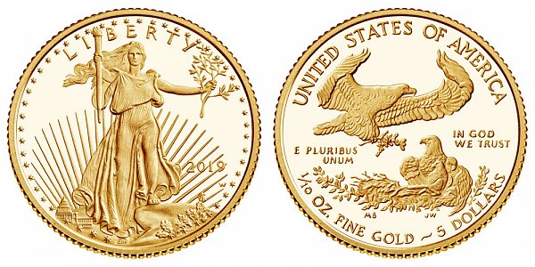 2019 W Proof Tenth Ounce American Gold Eagle - 1/10 oz Gold $5