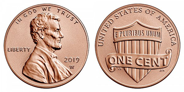 2019 W Reverse Proof Lincoln Shield Cent Penny - West Point