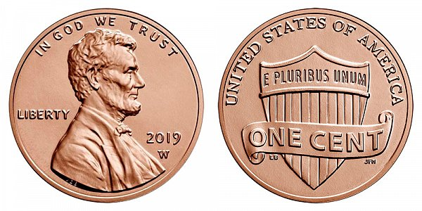 2019 W Uncirculated Lincoln Shield Cent Penny - West Point