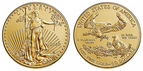 2020 Bullion One Ounce American Gold Eagle - 1 oz Gold $50