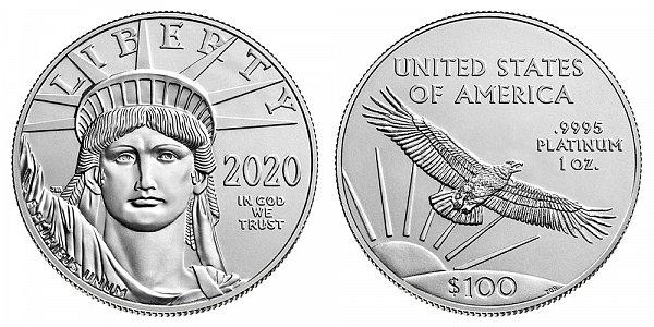 2020 American Platinum Eagle - Brilliant Uncirculated $100 1oz One Ounce Platinum Bullion