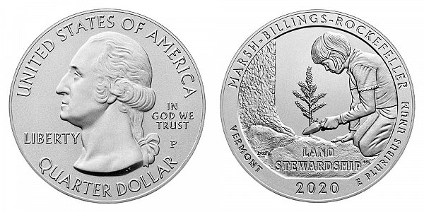 2020 P Marsh-Billings-Rockefeller 5 Ounce Burnished Uncirculated Coin - 5 oz Silver