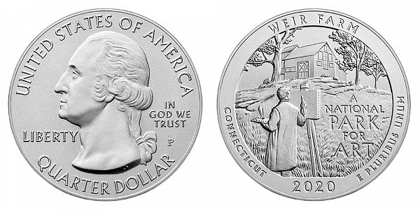 2020 P Weir Farm 5 Ounce Burnished Uncirculated Coin - 5 oz Silver