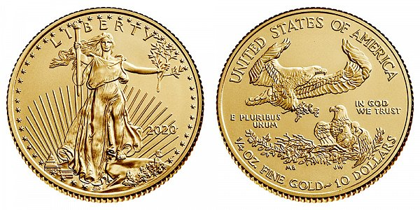 2020 Quarter Ounce American Gold Eagle Bullion - 1/4 oz Gold $10