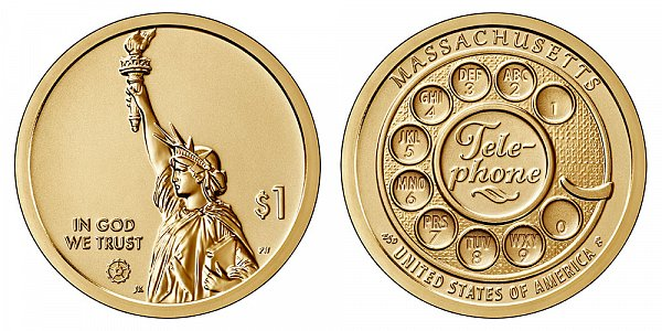 2020 S Reverse Proof Massachusetts American Innovation Dollar