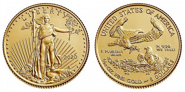 2020 Tenth Ounce American Gold Eagle Bullion - 1/10 oz Gold $5