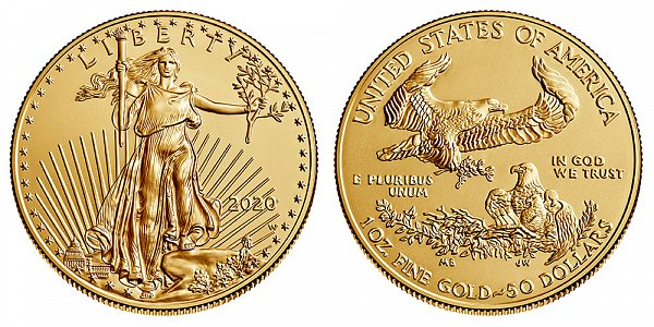 2020 W Burnished Uncirculated One Ounce American Gold Eagle - 1 oz Gold $50