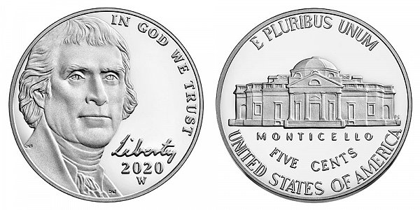 2020 W Proof Jefferson Nickel - West Point