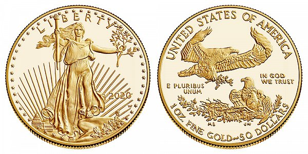 2020 W Proof One Ounce American Gold Eagle - 1 oz Gold $50