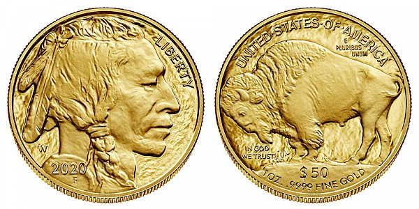2020 W Proof One Ounce Gold American Buffalo - 1 oz Gold $50
