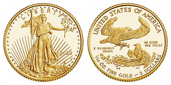 2020 W Proof Tenth Ounce American Gold Eagle - 1/10 oz Gold $5