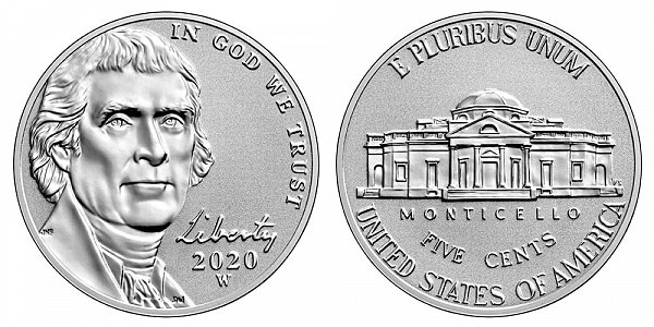2020 W Reverse Proof Jefferson Nickel