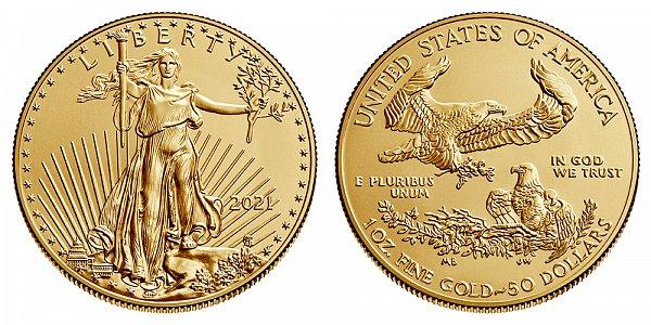 2021 Bullion One Ounce American Gold Eagle - 1 oz Gold $50