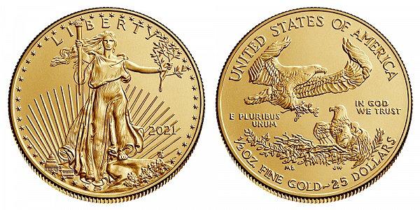 2021 Half Ounce American Gold Eagle Bullion - 1/2 oz Gold $25