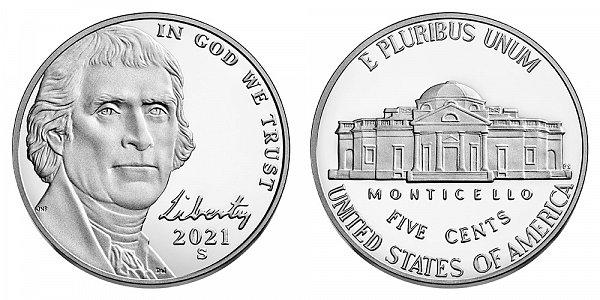 2021 S Proof Jefferson Nickel