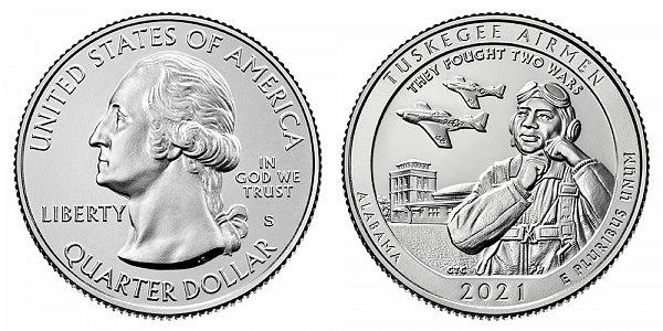 2021 S Uncirculated Edition Tuskegee Airmen Quarter - Alabama