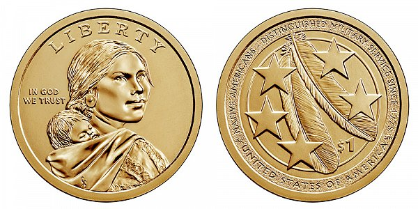 2021 P Sacagawea Native American Dollar - Distinguished Military Service Since 1775