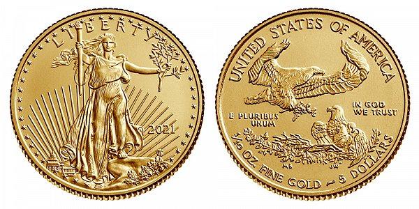 2021 Tenth Ounce American Gold Eagle Bullion - 1/10 oz Gold $5