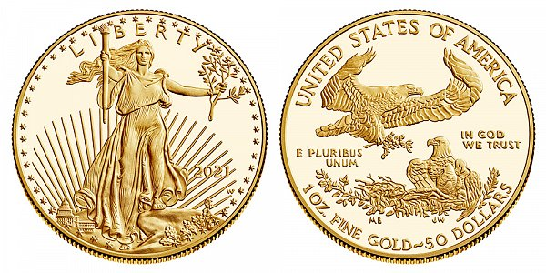 2021 W Proof One Ounce American Gold Eagle - 1 oz Gold $50