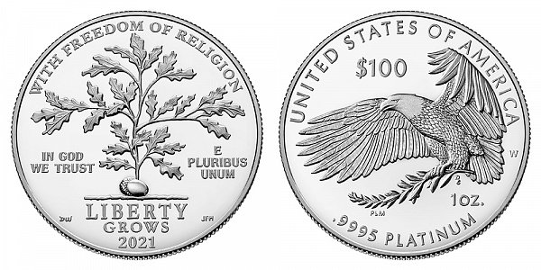 2021 W Proof One Ounce American Platinum Eagle - 1 oz Platinum $100