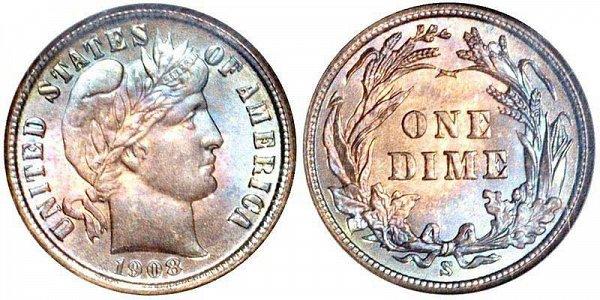 1908 S Silver Barber Dime