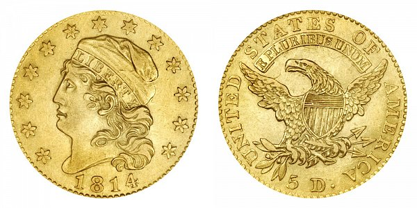 $5 Gold Capped Bust Half Eagle (capped liberty head, not draped) by John Reich