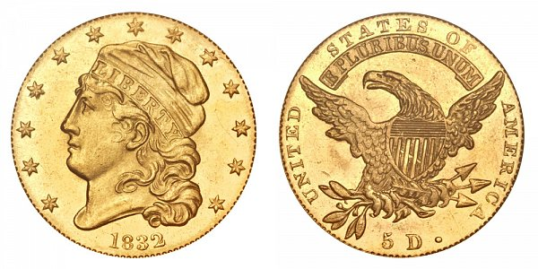1832 13 Stars - Square Base 2 - Capped Bust $5 Gold Half Eagle - Five Dollars