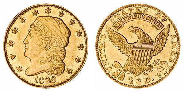 Capped Bust Gold $2.50 Quarter Eagle Head Facing Left - Reduced Diameter US Coin