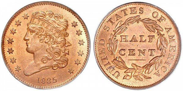 Classic Head Liberty Half Cent by John Reich