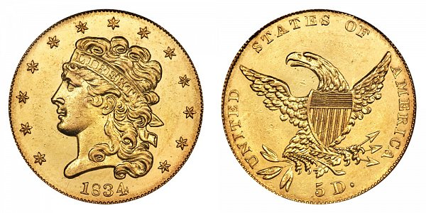 1834 Classic Head $5 Gold Half Eagle - Crosslet 4 - Five Dollars
