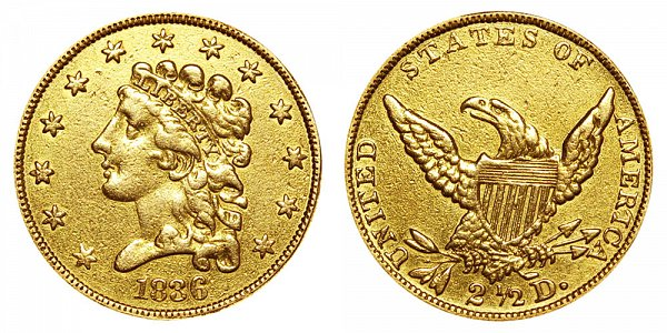 Classic Head Gold $2.50 Quarter Eagle No Motto On Reverse US Coin