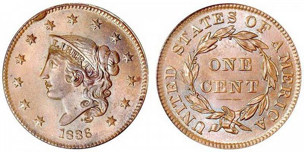Coronet Matron Liberty Head Large Cent, designed by Robert Scot