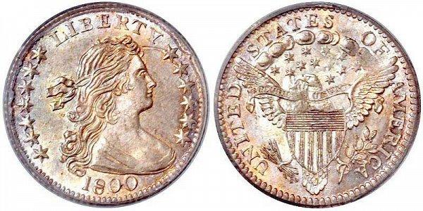 1800 Draped Bust Half Dime - Heraldic Eagle