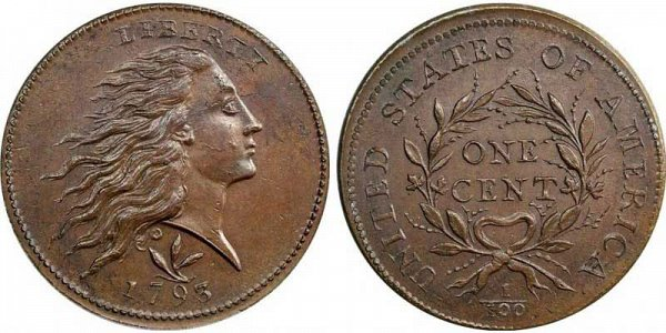 1793 Flowing Hair Large Cent - Wreath Reverse - Vines and Bars Edge