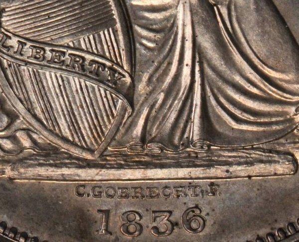Gobrecht Dollar - C. GOBRECHT. F. Under Base