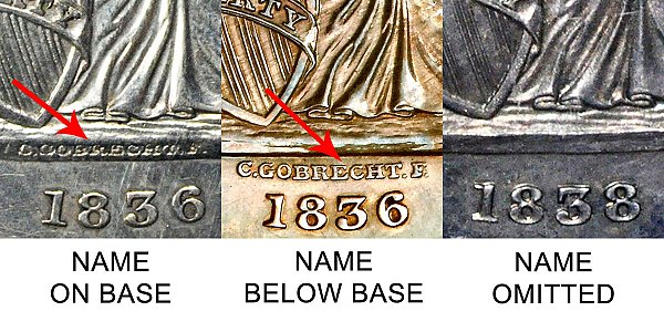 1838 Gobrecht Dollar Name On Base vs Name Below Base Varieties - Difference and Comparison